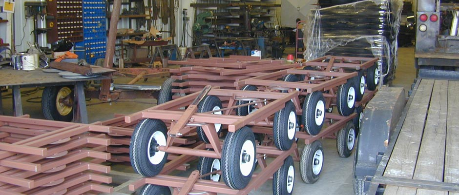 Four-wheel steel carts custom made for the State of Tennessee Department of Corrections.